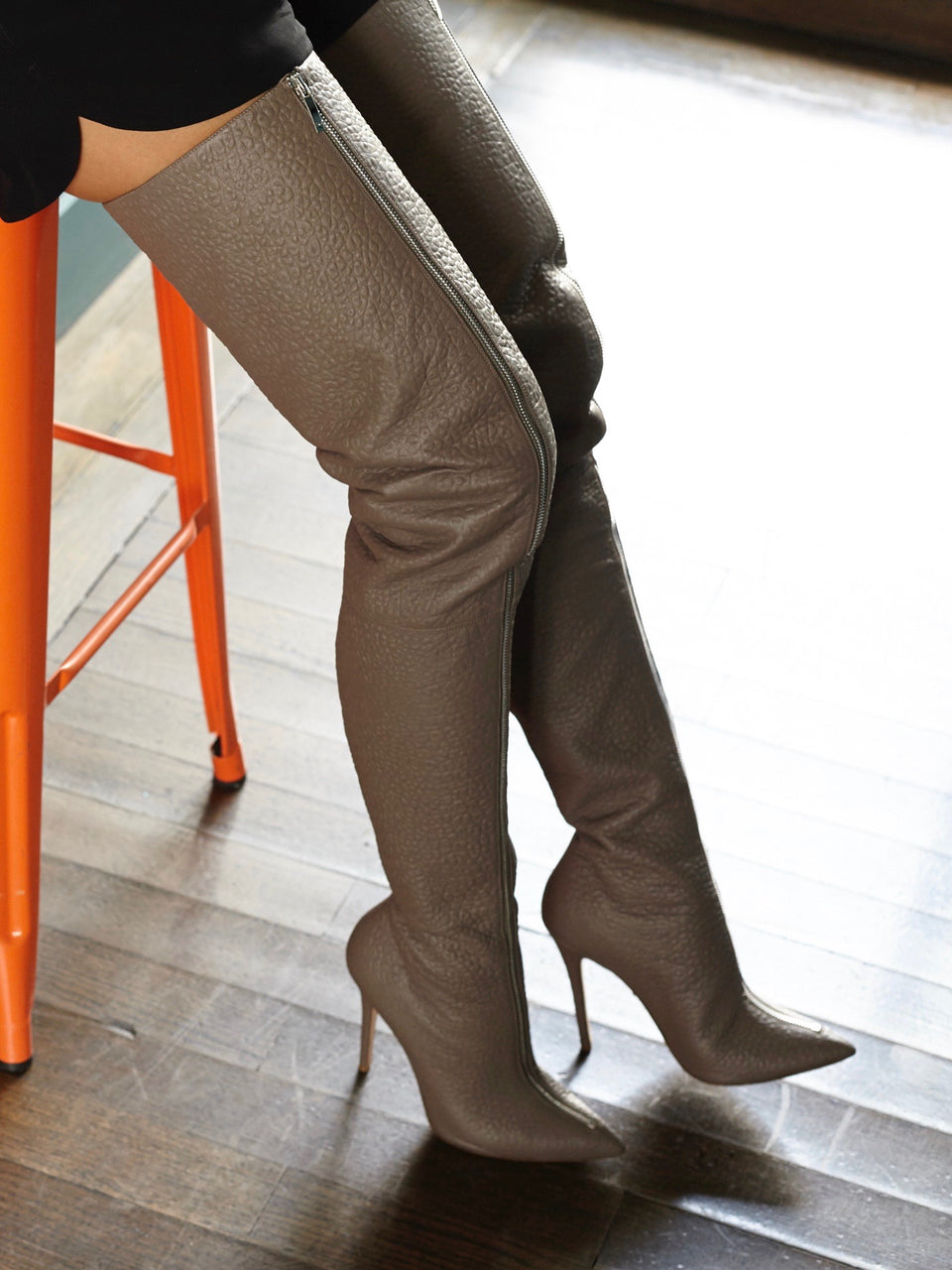 BLAIR TAUPE LEATHER THIGH-HIGH BOOT - Monika Chiang