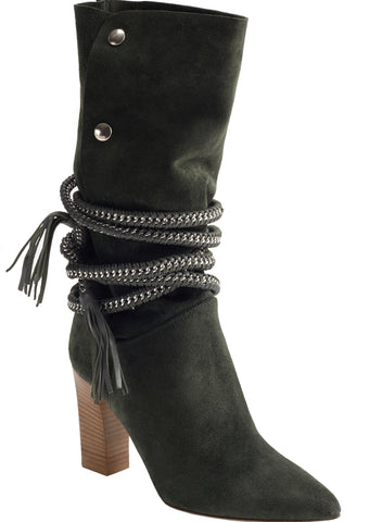 DIONNA ARMY GREEN SUEDE BOOT - Monika Chiang