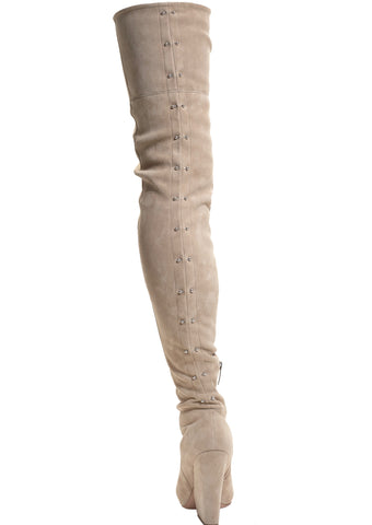 VIX CREAM STRETCH SUEDE THIGH BOOT