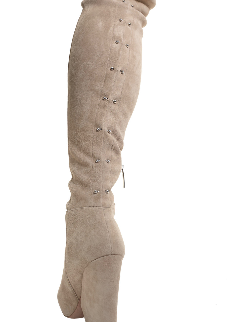 VIX CREAM STRETCH SUEDE THIGH-HIGH BOOT - Monika Chiang