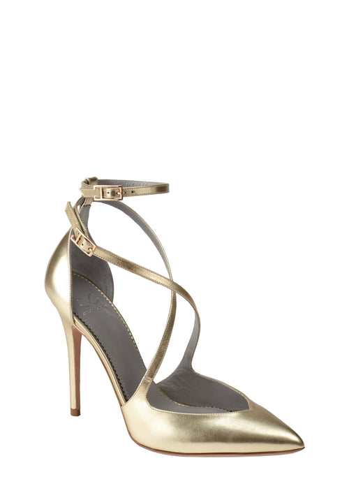 CAROLLA BRUSHED GOLD CALF PUMP - Monika Chiang