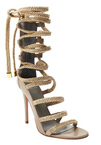 INDIA TAUPE CALF & GOLD SANDAL - Monika Chiang