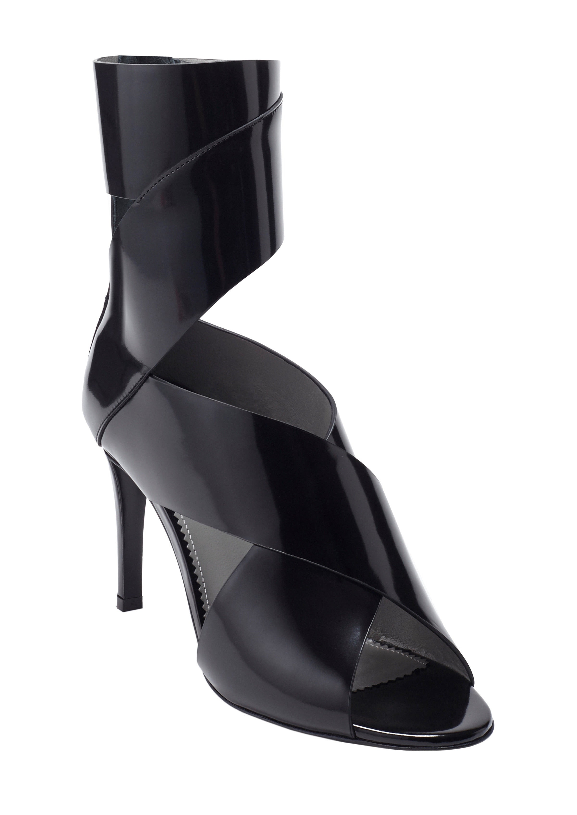 NADJA BLACK BRUSHED CALF SANDAL - Monika Chiang