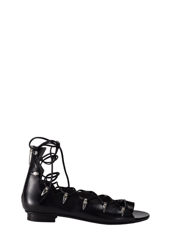NADJA BLACK BRUSHED CALF SANDAL