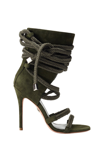 COSIMA ARMY GREEN SUEDE SANDAL