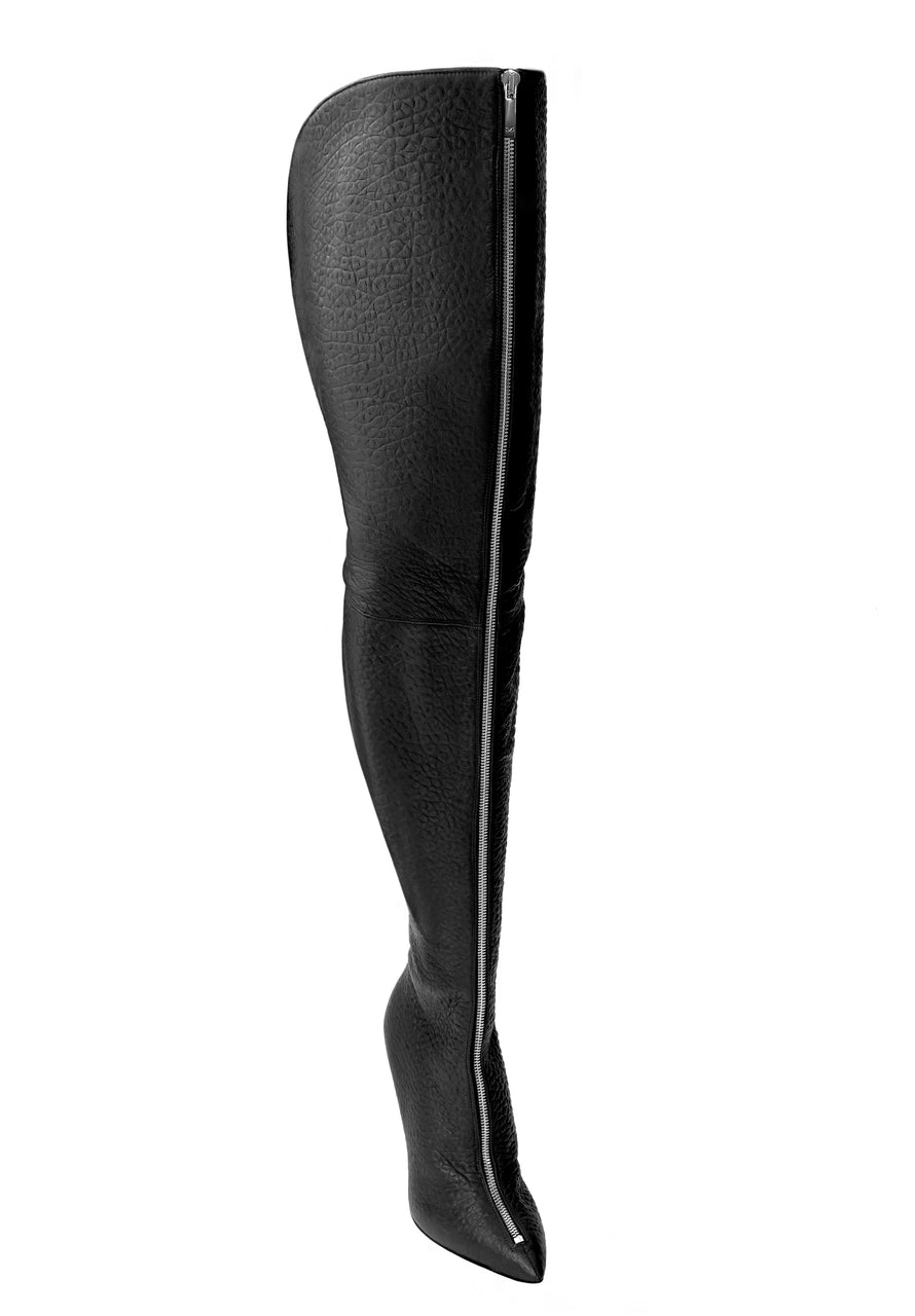 BLAIR WIDE BLACK SILVER LEATHER THIGH-HIGH BOOT
