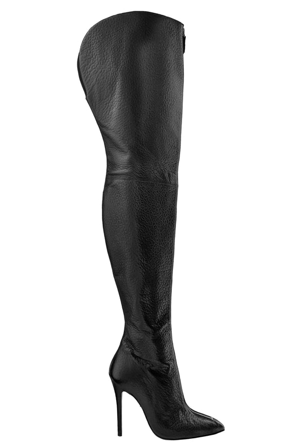 BLAIR WIDE BLACK SILVER LEATHER THIGH-HIGH BOOT - Monika Chiang