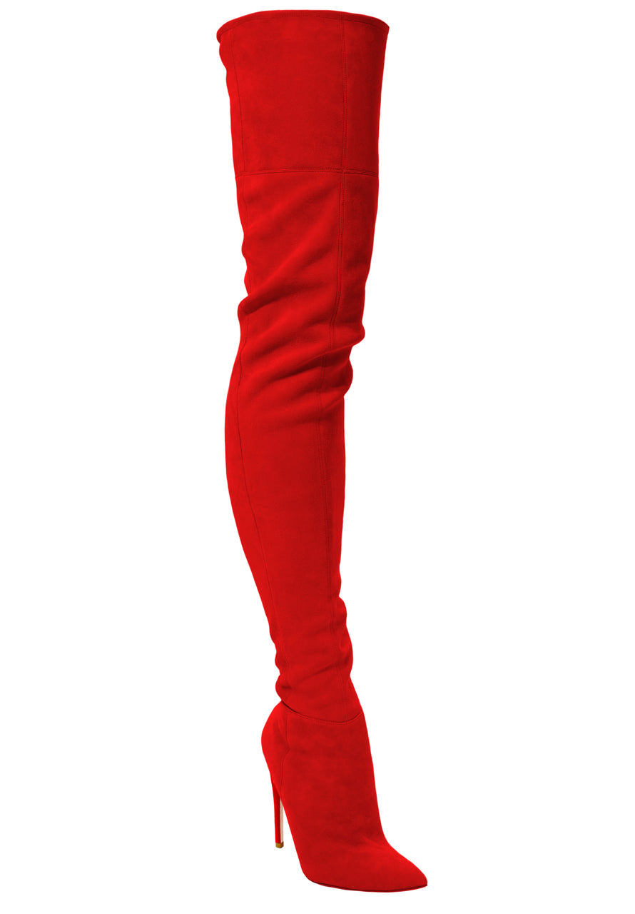 LACIA RED SUEDE THIGH BOOT - Monika Chiang