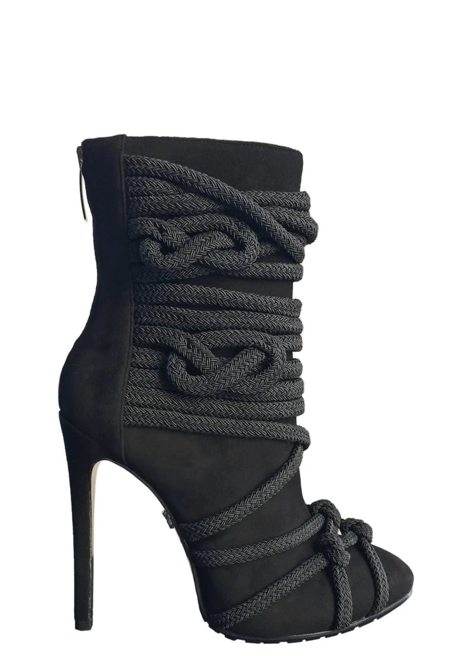 TALIA BLACK SUEDE & ROPE BOOT - Monika Chiang