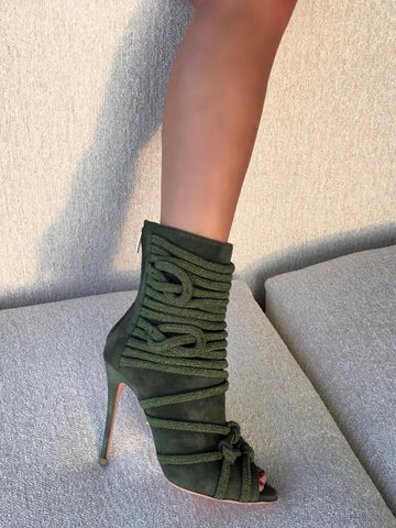 TALITA ARMY GREEN SUEDE ANKLE BOOT - Monika Chiang