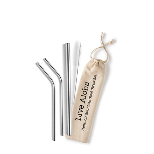 Live Aloha Gift Set Reusable Straw