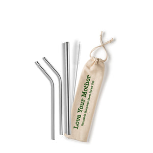 Love Your Mother Reusable Stainless Steel Straw Set