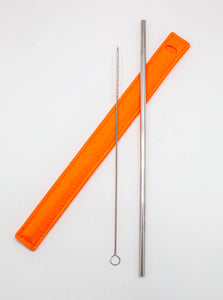 Orange Stainless Steel Straw Set