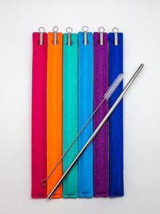10.5 inch Straight Stainless Steel Straw and Cleaning Brush in Purple Fabric Sleeve
