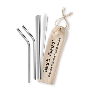 Beach, Please! Stainless Steel Straw Set