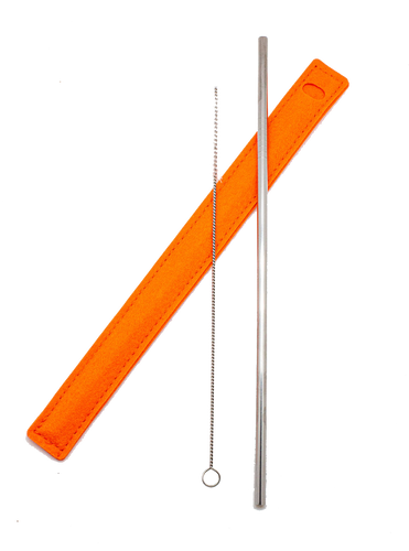 Orange Reusable Straw Set