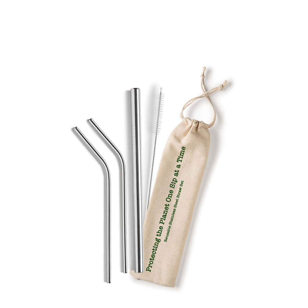 Protecting the Planet, One Sip at a Time Stainless Steel Straw Set