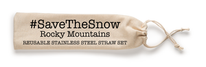 Save The Snow, Rocky Mountains Stainless Steel Straw Set
