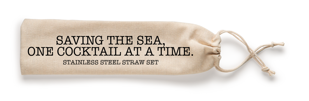 Saving The Sea One Cocktail at a Time Stainless Steel Straw Set