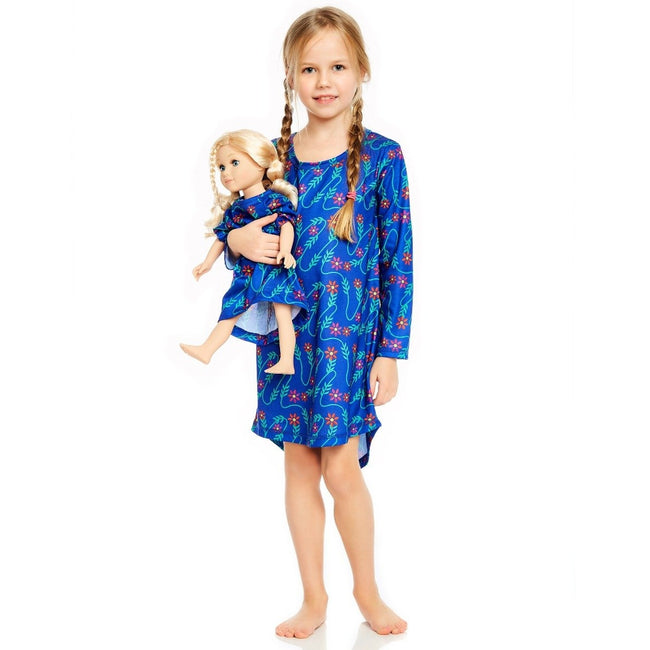 *Pre-Order* Matching Girl & Doll Nightgowns in Floral on Blue