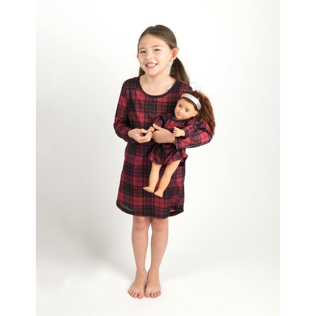 *Pre-Order* Matching Girl & Doll Nightgowns in Red + Black Plaid