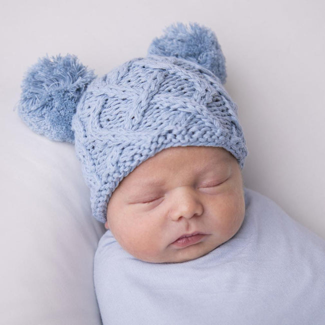 Newborn Aran Chambray Double Pom Pom Beanie Hat
