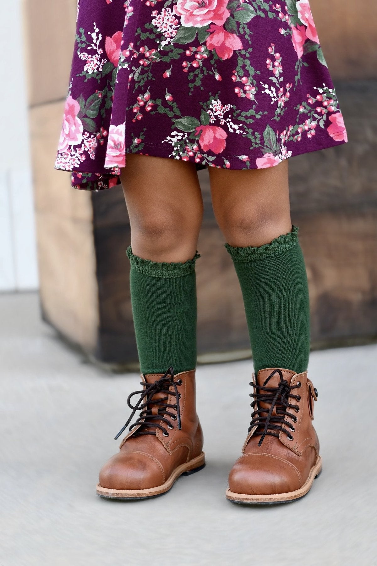 Forest Green Lace Top Knee Highs