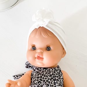 *Pre-order* Ruffle Turban Hat for Kids + Minikane Dolls in Ivory