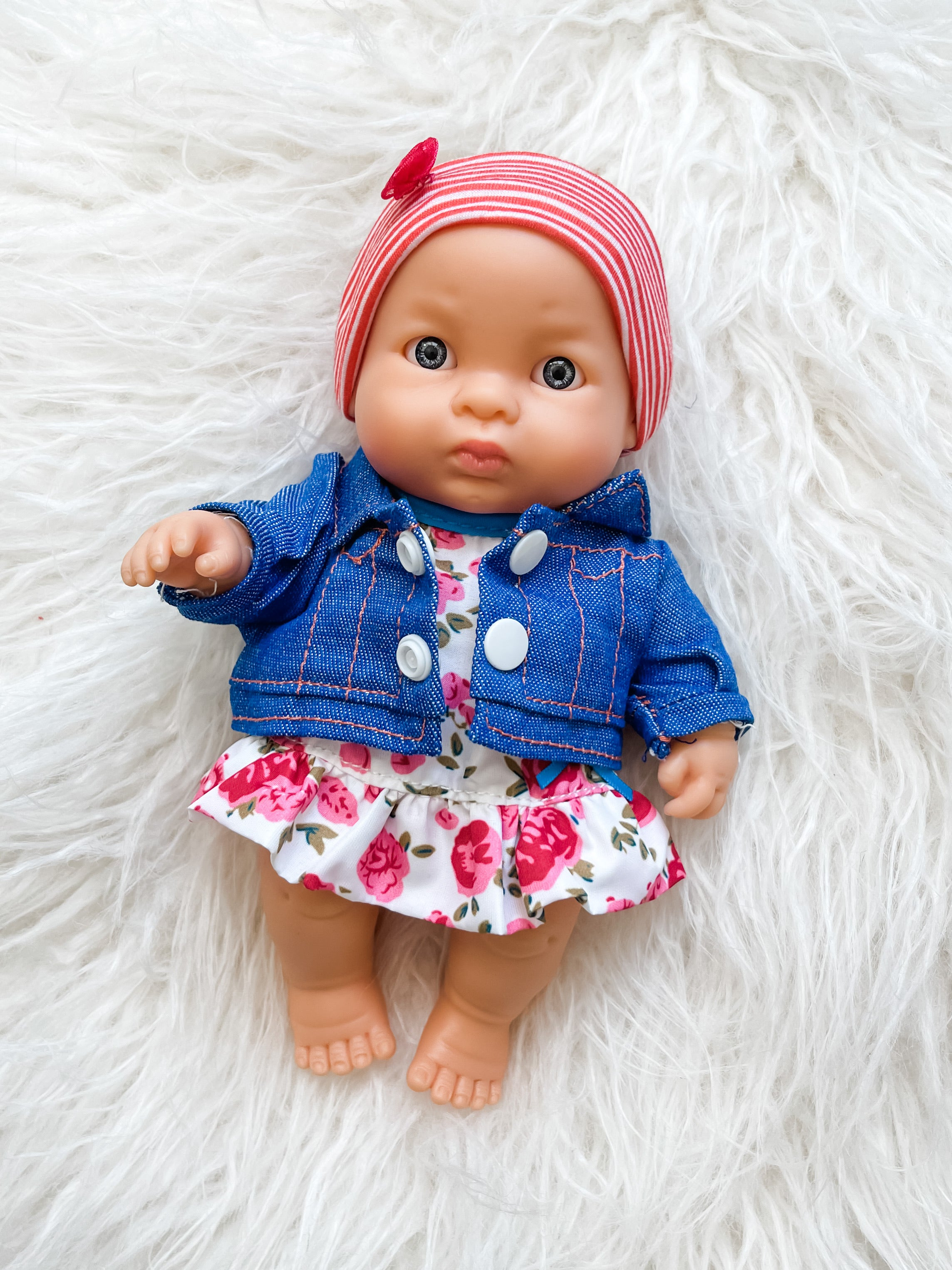 "Dress, jacket and headband set for 8.25"" Miniland and Minikane Newborn Dolls"