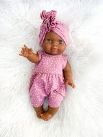 Load image into Gallery viewer, Minikane Noa Romper + Hat Set in Rose Sprinkles