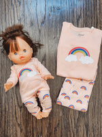 Load image into Gallery viewer, Matching Girl and Doll Cotton Retro Rainbow Pajamas