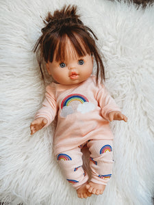 Matching Girl and Doll Cotton Retro Rainbow Pajamas