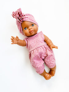 Minikane Noa Romper + Hat Set in Rose Sprinkles