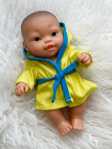 "Bathrobe for 8.25"" Miniland and Minikane Newborn Dolls"