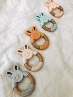 Load image into Gallery viewer, Bunny Silicone + Wood Teether - Light Grey