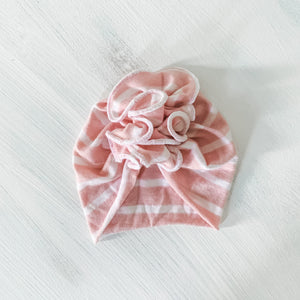 *Pre-order* Ruffle Turban Hat for Kids + Minikane Dolls in Pink/Ivory Stripe