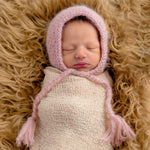 Load image into Gallery viewer, Newborn Pink Angora Knit Bonnet