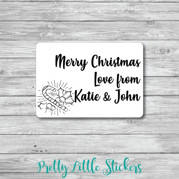 50 x Personalised Holly & Candy Cane Christmas Stickers