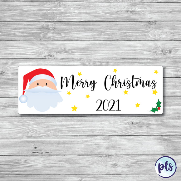 Merry Christmas - Waterproof Letter Box Sticker With Santa design