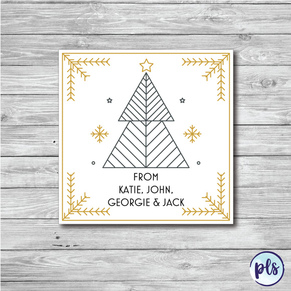 50 x Personalised Christmas Tree Stickers