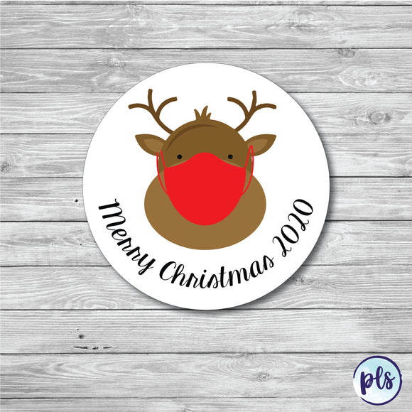 50 x Reindeer With Mask Christmas Stickers