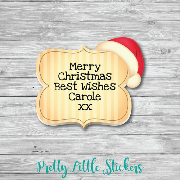 50 x Personalised Christmas Santa Hat Stickers