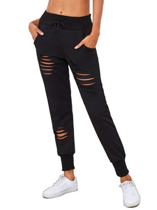 SweatyRocks Women's Ripped Pants Drawstring Yoga Workout Sweatpants