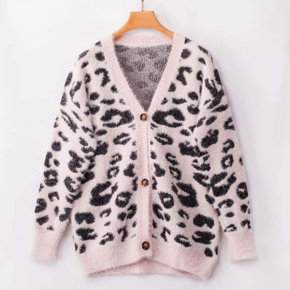 ECOWISH Women Long Sleeve Open Front Leopard Cardigan Casual Knitted Sweater Loose Button Down Coat Outwear Tops Pink Small