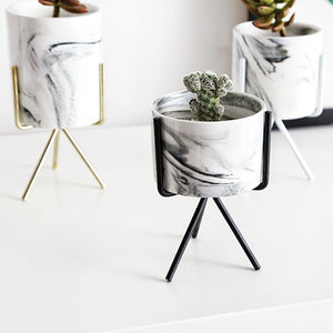Topaty Iron Shelf Marble Succulent Plant Pot Cactus Pots Ceramic Pot Concrete Planters Modern Home Decor for Garden Decor(8 cm in Diameter,Deep 5.5cm/7.5cm/9.5cm,Height 12.5cm/14.5cm/16.5cm)