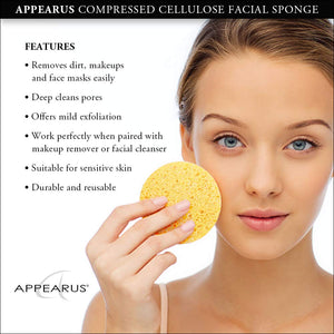 Compressed Natural Cellulose Facial Sponges, Made in USA (50 Count)