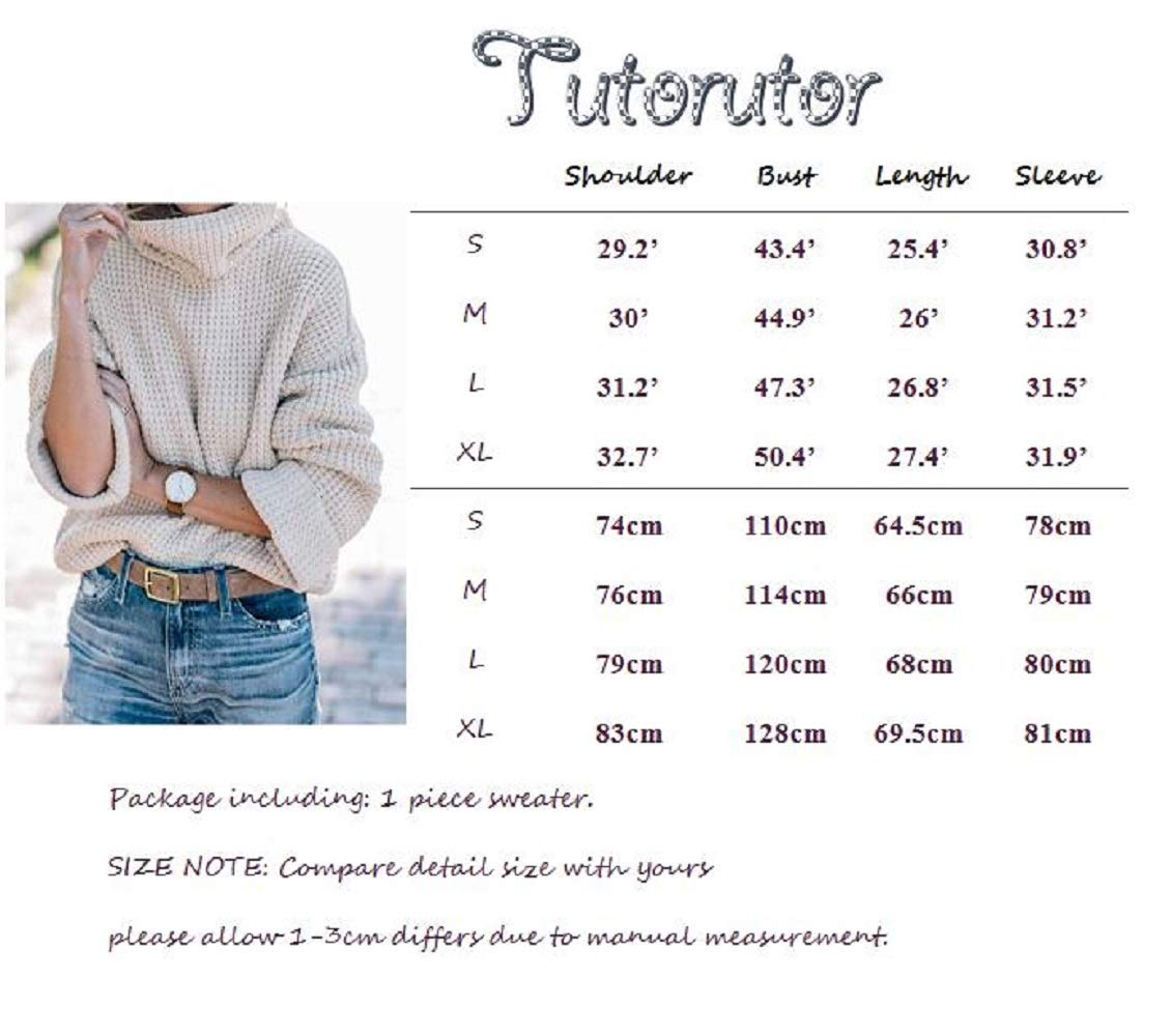 Tutorutor Womens Oversized Chunky Sweaters Casual Batwing Sleeve Turtleneck
