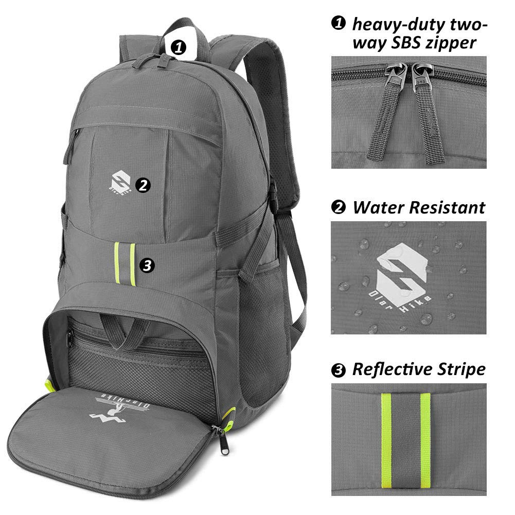 Lightweight Travel Backpack, 35L Water Resistant Packable Traveling/Hiking Backpack Daypack for Men & Women, Multipurpose Use - Grey