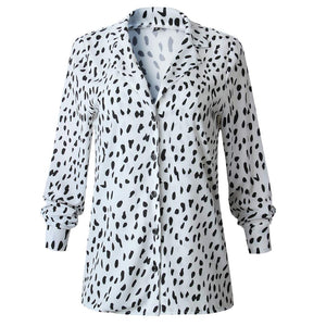 ECOWISH Womens V Neck Leopard Casual Print Tunic Long Sleeve Button Down Shirt Tops 235White S