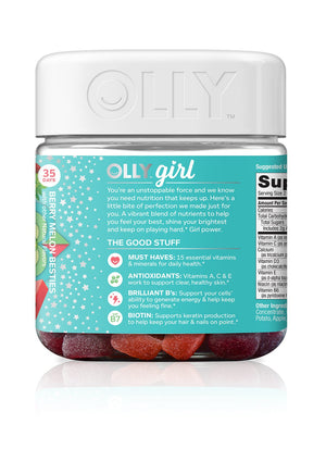 OLLY Teen Girl Multi Gummy Multivitamin, 35 Day Supply (70 Gummies), Berry Melon Besties, Vitamins A, C, E, Biotin, Antioxidants, Kids, Chewable Supplement